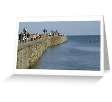 Walking on St Andrews Pier Greeting Card