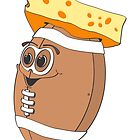 Cheese Head Football Cartoon by Graphxpro