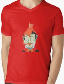 orange cat on green head Mens V-Neck T-Shirt