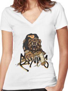 Boston Bruins  Women's Fitted V-Neck T-Shirt