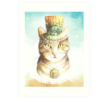 watercolor steampunk cat  Art Print