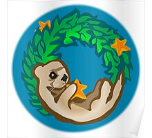 Otter Holiday Wreath Poster