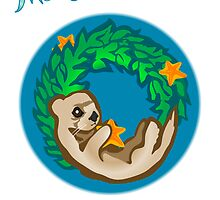 Otter Holiday Wreath Card by SpiralArtistry