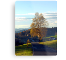 Tree, road and indian summer evening II | landscape photography Metal Print