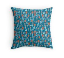 Summer colorful pattern with buds and berries Throw Pillow