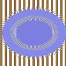Blue Circle Beige Stripes by donnagrayson