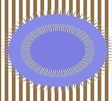 Blue Circle Beige Stripes by Donna Grayson