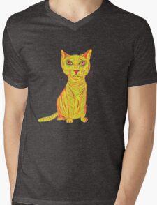 Annoyed and Grumpy Yellow Cat Mens V-Neck T-Shirt