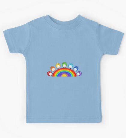 Little Cute Rainbow Birds Kids Tee