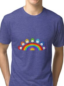 Little Cute Rainbow Birds Tri-blend T-Shirt
