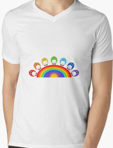 Little Cute Rainbow Birds Mens V-Neck T-Shirt