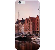 Sunset city with boats and water iPhone Case/Skin