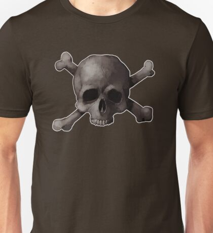 Jolly Roger Skull and Cross Bones Painting Unisex T-Shirt