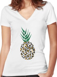 Leopard or Pineapple? Funny illusion Picture Women's Fitted V-Neck T-Shirt