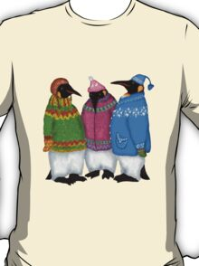 Penguins in Hand Knitted Sweaters T-Shirt