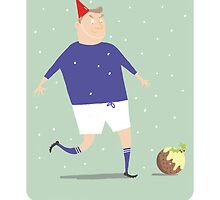 FOOTBALL HAPPY CHRISTMAS, BLUE & WHITE by Jane Newland