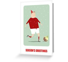 FOOTBALL HAPPY CHRISTMAS, RED & WHITE Greeting Card
