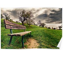 Bench in the countryside Poster