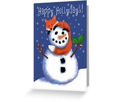 Fox and Snowman Happy Hollydays! Greeting Card