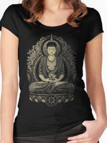 Gautama Buddha Yellow Halftone Textured Women's Fitted Scoop T-Shirt