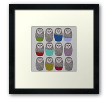 Bright Line Up of Owls Framed Print