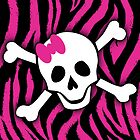 Pink Zebra Skull by Roseanne Jones