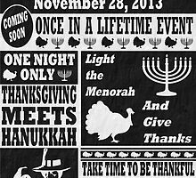 Vintage Celeberate Thanksgivukkah Newspaper Poster by xdurango