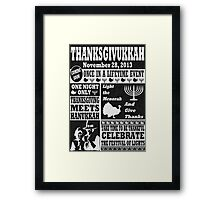 Vintage Celeberate Thanksgivukkah Newspaper Poster Framed Print
