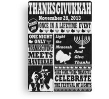 Vintage Celeberate Thanksgivukkah Newspaper Poster Canvas Print