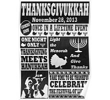 Vintage Celeberate Thanksgivukkah Newspaper Poster Poster