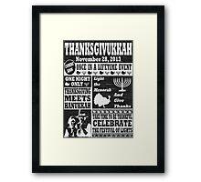 Vintage Celeberate Thanksgivukkah Distressed Newspaper Poster Framed Print