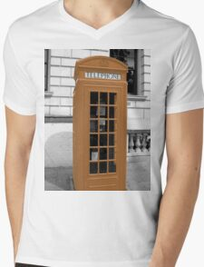 Orange Phonebox Mens V-Neck T-Shirt