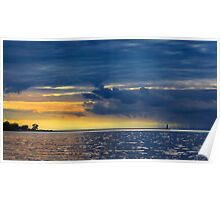 Sunset Storm at the Sodus Light Poster