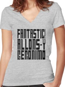 Doctor Who catchphrases Women's Fitted V-Neck T-Shirt