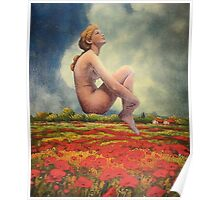 Over Fields of Poppies Poster