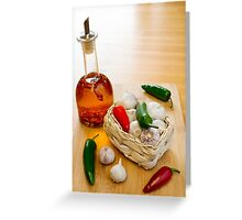 Garlic and Chilli Basket With Oil Greeting Card