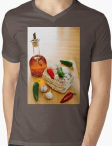 Garlic and Chilli Basket With Oil Mens V-Neck T-Shirt