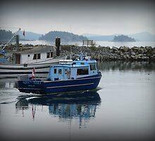 """Blue Boat"" - Ganges Harbour, Salt Spring Island by Dawn144"