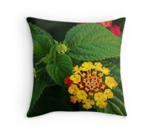 Red and Yellow Lantana Flower and Green Leaves Throw Pillow