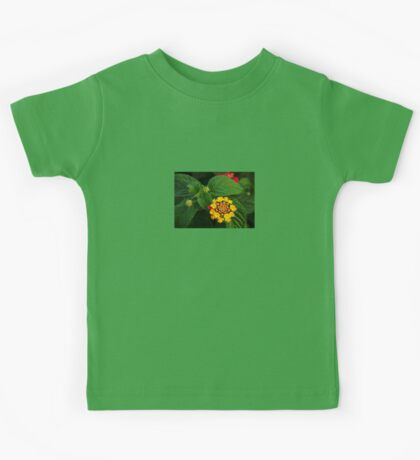 Red and Yellow Lantana Flower and Green Leaves Kids Tee