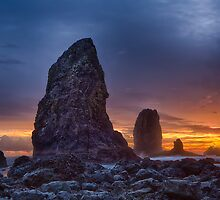 Sunset over the Cannon Beach Sea Stacks by Jim Stiles