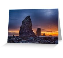 Sunset over the Cannon Beach Sea Stacks Greeting Card