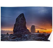 Sunset over the Cannon Beach Sea Stacks Poster