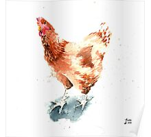 Watercolour of a Ginger Chicken Poster