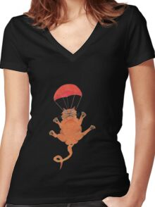 parachute cat Women's Fitted V-Neck T-Shirt