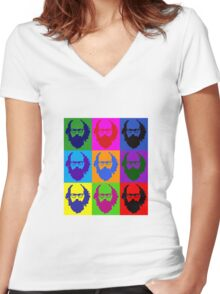 Allen Ginsberg b/w Andy Warhol Women's Fitted V-Neck T-Shirt