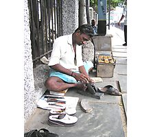 My sandals being resized, Chennai, India Photographic Print