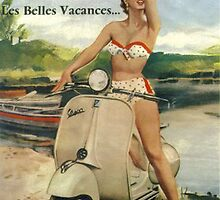 Vintage Italian Vespa Ad Poster by georginashford