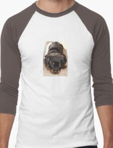 Cute Rottweiler Puppy With Head On Paws Men's Baseball ¾ T-Shirt