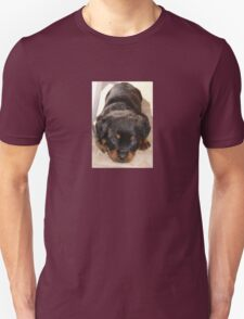 Cute Rottweiler Puppy With Head On Paws Unisex T-Shirt